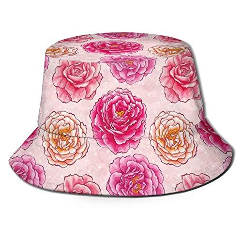 Packable Reversible Negro Impreso Pescador Cubo Sol Sombrero Romántico Pétalos De Rosa Fragancia Ramos De Amor Clásico Blooms Graphic Hat