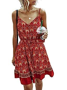 PRETTYGARDEN Women's Floral Sexy V Neck Spaghetti Strap Backless Button Down Sundress Swing Ruffle Summer Mini Short Dress with Belt  Red Small