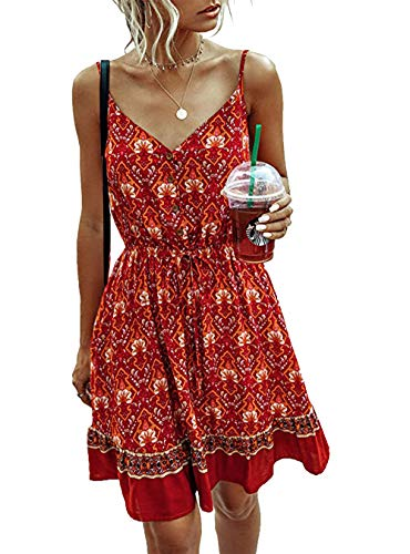 PRETTYGARDEN Women's Floral Sexy V Neck Spaghetti Strap Backless Button Down Sundress Swing Ruffle Summer Mini Short Dress with Belt (Red, 2X-Large)