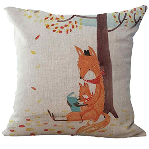 PU Ran 1pièce Fox en lin Couvre-lit Taie d'oreiller Canapé Housse de coussin Home Decor, C, Taille M