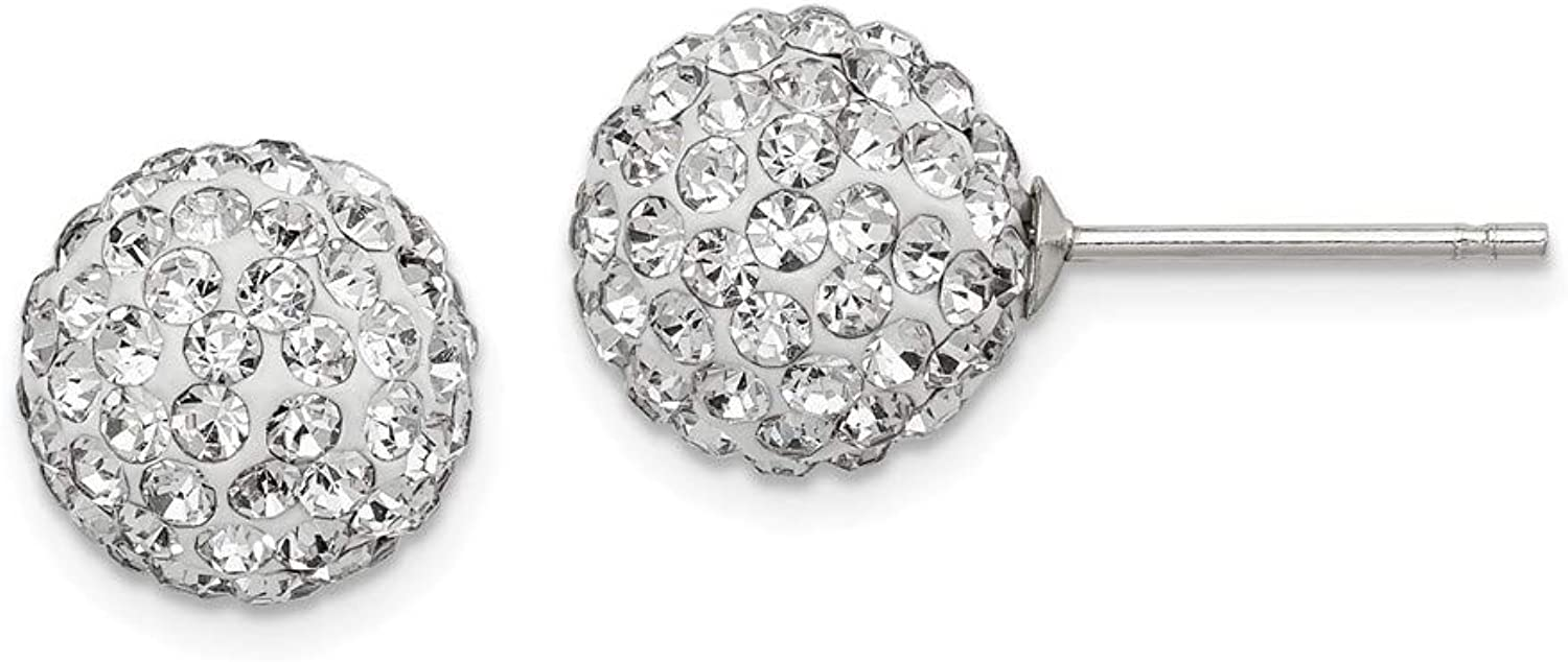 Beautiful Sterling silver 925 sterling Sterling Silver 10mm White Czech Crystal Post Earrings