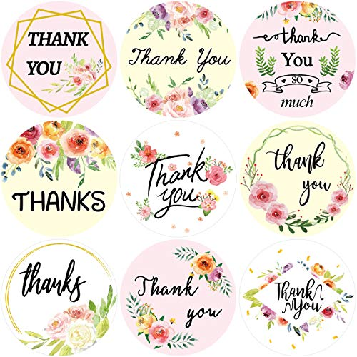 Floral Thank You Stickers 200PCS Perforated Labels Sealing Decoration Roll Sticker Graduation for Small Business Wedding Birthday Party