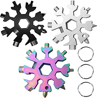 18-in-1 Snowflake Multi Tool, Stainless Steel Snowflake Bottle Opener/Flat Phillips Screwdriver Kit/Wrench,(Silver+Black +Color)3pcs