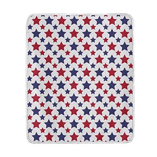 TIZORAX Manta suave y cálida con estrellas rojas y azules, 127 x 152 cm, para cama, sofá, picnic, camping, playa