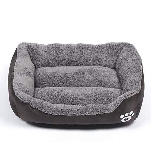 XYBB Hundebett Hundekörbchen Haustier Produkte Paw Print Für Kleine Mittlere Große Hunde Nest Weiche Warme Katze Wasserdicht XL 80x60cm Kaffee