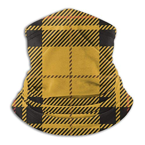 werert Multifunktionstuch | Schlauchtuch | Sturmmaske | Bandana Yellow Black Tartan Plaid Scottish Balaclava Breathable Face-Mask Scarf Microfiber Neck Warmer for Unisex