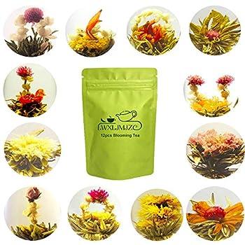 LWXLJMJZC-12pcs Individually Wrapped Blooming Tea,Jasmine Flowering Tea Green Tea with Natural Flowers