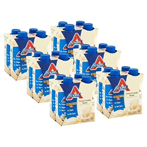 Atkins Ready To Drink Shake, French Vanilla, 11 Ounce, 4 Count (Pack of 6)