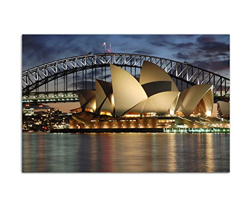 Paul Sinus Art 120x80cm - WANDBILD Sydney Oper Harbour Bridge Nacht - Leinwandbild auf Keilrahmen modern stilvoll - Bilder und Dekoration