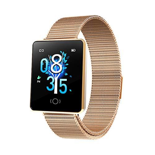 Smartwatch mit Pulsmesser Damen, Aomili Bluetooth Sportuhr Fitnessuhr Intelligente Armbanduhr mit Schrittzähler Pulsmesser Schlafmonitor für Android IOS (Gold)