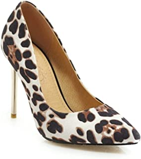Pointed Leopard Print Heels For Banquet Wedding Dress Daily (Color : White, Size : 46)