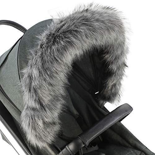 Pram Fur Hood Trim Attachment for Pushchair Compatible with Egg - Dark Grey
