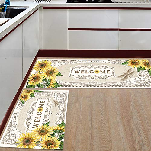 BestLives Kitchen Rug Set of 2 Piece, Sunflower Floral Floor Mats Non-Slip Area Runner Carpet Washable Indoor Doormat Pad Sets, Floral Plants Dragonfly Garden 19.7x31.5in+19.7x47.2in