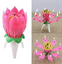 SHENGLIN Birthday Candle Romantic Pink Will Bloom Beautiful Lotus Shaped Candle