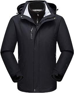 Alomoc Men's 3 in 1 Winter Hiking Jacket Waterproof Softshell Snowboard Coats with Hood