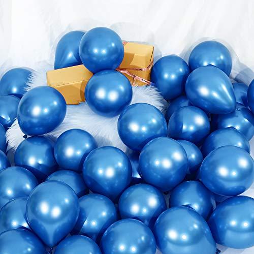 Sumind 100 Piezas Globos Metálicos de 5 Pulgadas Globos de Látex Decorativa para Decoración de Fiesta Festival Compromiso Boda Cumpleaños (Azul)