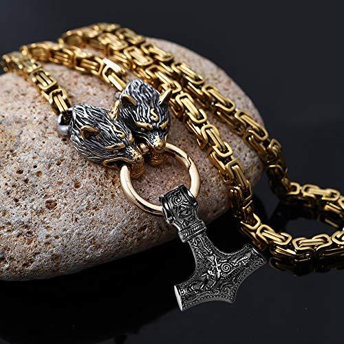 Collar vikingo para hombre, cabeza de lobo pesado, de acero inoxidable, estilo vintage nórdico, con martillo de Thor Mjolnir, colgante amuleto, Negro , 60 cm