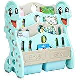 COSTWAY Libreria per Bambini Portalibri con 4 Mensole e 2 Contenitori, Scaffale per Libri e Magazzini, per Cameretta Bambini e Scuola, di Legno (Menta)