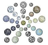 netproshop Schwimmkugeln, Dekokugeln schwimmend, Porzellan, Durchmesser 4-6-7,5 cm, Farbe:Weiss-Blau Blüte, Auswahl1:6 cm