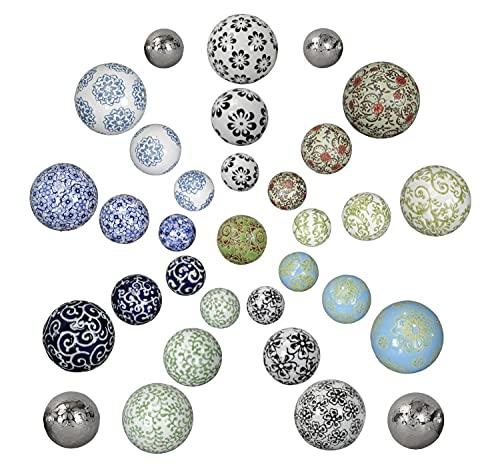 netproshop Schwimmkugeln, Dekokugeln schwimmend, Porzellan, Durchmesser 4-6-7,5 cm, Farbe:Blau Blüte, Auswahl1:4 cm