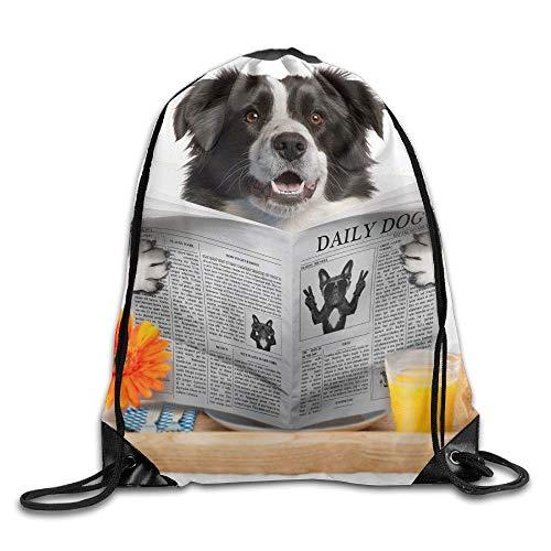 Lustige Mops Hund suchen täglich Hund Zeitung3 Unisex Home Rucksack Umhängetasche Reise Kordelzug Rucksack Tasche