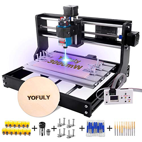 Yofuly 3000mW Laser Engraver CNC 3018 Pro Engraving Machine, 3 Axis GRBL Control PCB Milling Carving Machine DIY Mini CNC Router Kit with Offline Controller