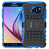 ykooe Funda para Galaxy S6, Samsung S6 Teléfono Híbrida de Doble Capa con Soporte Carcasa para Samsung Galaxy S6 (Azul)