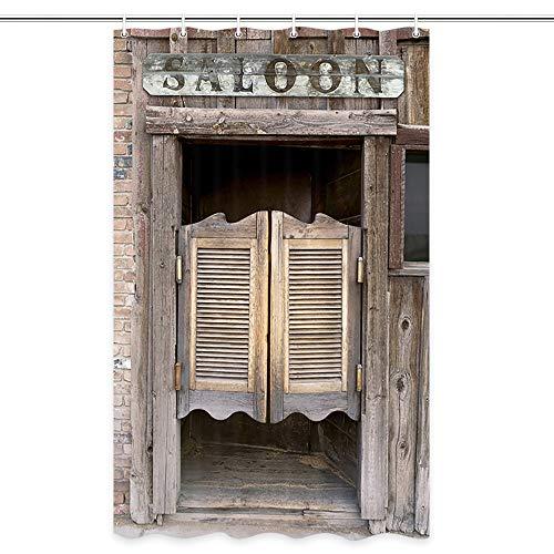 Cortinas de ducha rústicas del West Saloon Stall, vintage, retro, vaquero, campo, granja, vintage, temática occidental, juego de cortinas de ducha, ganchos de cortina de ducha deincluidos,182 cm