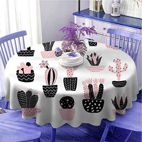Mantel redondo de cactus ideal con ilustración artística suculenta de jardín con diferentes plantas de interior de uso diario, diámetro de 99 cm, rosa pálido, blanco y negro