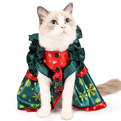 Heywean Cat Christmas Costume Holiday Dressing Up for Kitten Xmas Outfit Party Suit for Medium Large Pet (M, Green)