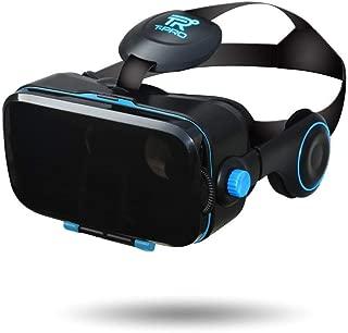 【 最新版 Version2】T-PRO 3D メガネ対応 VRゴーグル スマホ最新型 iphone X/android 各種対応 3D イヤホン一体型 4.0~6.0インチ(ブルー)