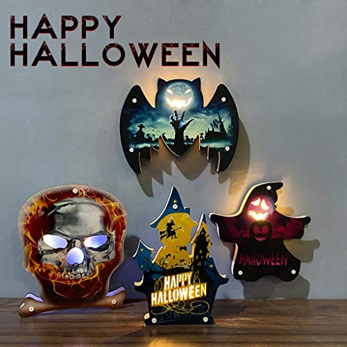 Vdaye Halloween Party Decorations LED Lights Scary Atmosphere Lights Witch Hat Ghost Hanging Decorations Orange LED Pumpkin Lights Halloween Decorations Gifts (B)