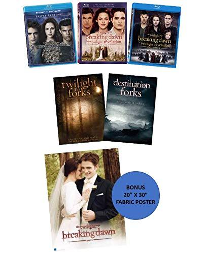 The Twilight Saga 5-Movie Blu-ray Collection (Twilight, New Moon, Eclipse, Breaking Dawn: Parts 1 & 2) + 2 Bonus Documentaries on DVD (Destination Forks, Twilight in Forks) + Bonus Fabric Poster