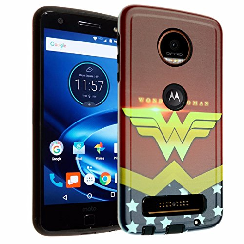 Moto Z Play Case, IMAGITOUCH 2-Piece Style Armor Case with Resilient TPU Shock Absorption Case and Wonder Woman Design Hard Cover Case Hybrid for Motorola Moto Z Play - Superhero Wonder Woman