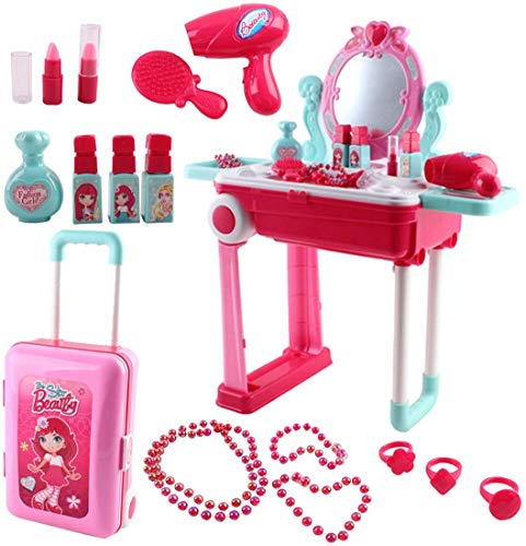 deAO 2-in-1 Portable Vanity Dressing Table and Convertible Suitcase Role Play Set with Accessories Included
