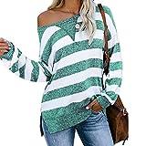 Herbst Und Winter, LäSsige, Lose Farblich Abgestimmte Gestreifte LangäRmelige Frauen T-Shirt Frauen