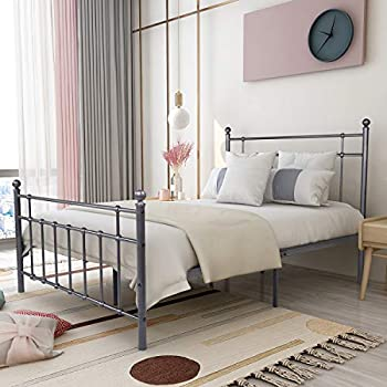Elegant Home Products Vintage Sturdy Full Size Metal Bed Frame with Headboard and Footboard Basic Bed Frame No Box Spring Needed Black/Silver Full