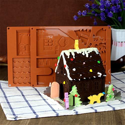 Zeagro - Stampo in silicone per torta di Natale, per cioccolatini, fondente 3D, per dolci, sapone, tumulo, 2 pezzi