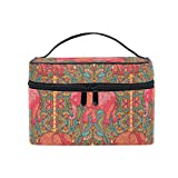 Makeup Bag Paisley Elephant Travel Cosmetic Bags Organizer Train Case Toiletry Make Up Pouch
