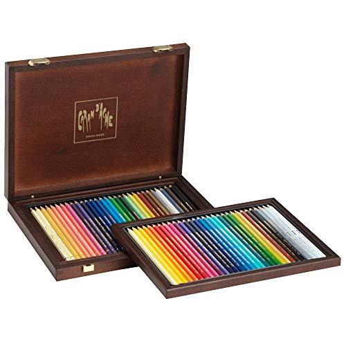 Caran d'Ache Holzkoffer mit 30 Supracolor Soft + 30 Pablo Stiften