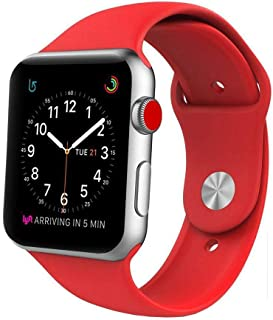 Watch Band, Soft Silicone iWatch Strap Replacement Sport Band for Apple Watch Band Series 6/5/4/3/2/1 42mm 44mm