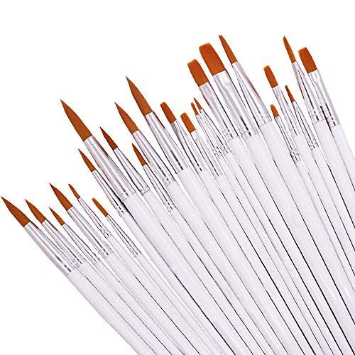 DaKuan - Juego de pinceles de nailon de lujo para pintar (24 unidades, acrílico, redondos, planos, para artistas, niños, aulas, etc.)