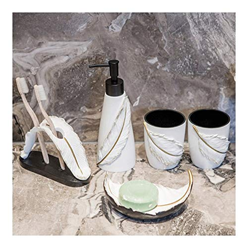 Dispensador de jabón líquido dispensador de 5 piezas accesorios de baño, características bomba de jabón líquido, soporte para cepillo de dientes, vaso, jabonera (600 ml) dispensadores de loción