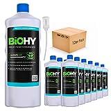 BiOHY Limpiacristales profesional (12 botellas de 1 litro) + Dosificador | Limpiador concentrado de vidrios, para de ventanas | Limpieza optima de vidrios, ventanas y espejos (Profi Fensterreiniger)