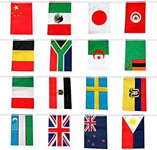 jijAcraft 41 Feet International String Flags, Hanging Bunting Pennant Banner 50 Countries Flags World Flags (8.2'' x 5.5'')