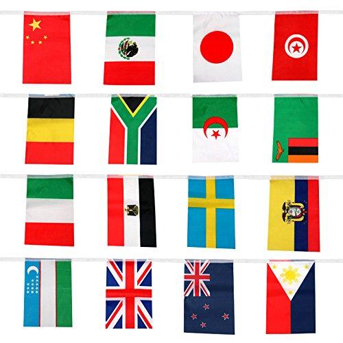jijAcraft 12,5m Füße International Fähnchen, 50Länder Flaggen Wimpelkette Banner Welt Flaggen (20,8x 14cm)