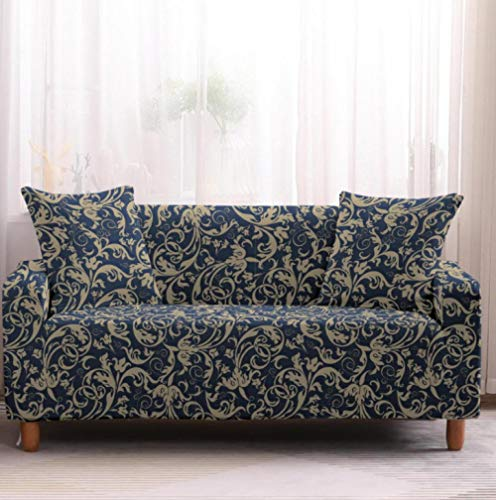 Sofa Cover Blue flower pattern Sofa Slipcover Stretch Elastic 2 Seater with 2 Pillowcase Loveseat Printed Couch Non Slip Furniture Protector Slipcover for Pets Stretch Elastic Couch Covers