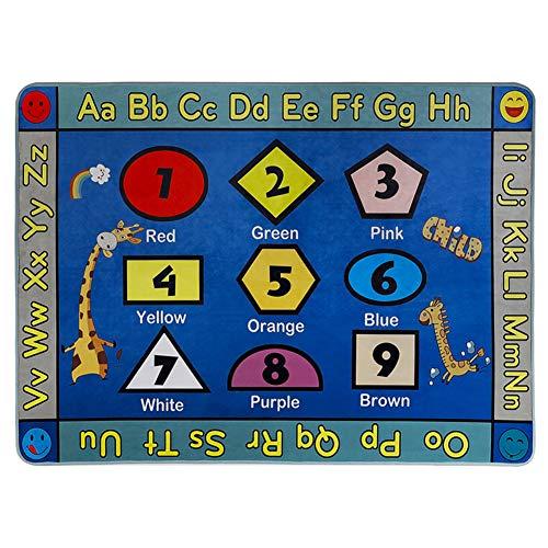WERUGS - Tappeto educativo per Bambini, con Numeri ABC, Grande Tappeto con Animale, Vivace Alfabeto, per Camera da Letto, Soggiorno, Scuola Materna, Microfibra, Forma Giraffa, 5'2''x7'6''