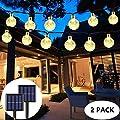 2-Pack Globe Solar String Lights Outdoor, Upgraded Ultra-Bright 60 LED Crystal Ball Solar Christmas Lights, IP65 Waterproof 8 Modes Outdoor Solar Lights for Patio, Garden, Gazebo, Tree (Warm White)