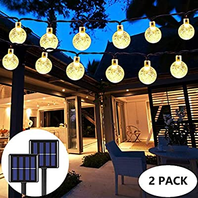 2-Pack Globe Solar String Lights Outdoor, Upgraded Ultra-Bright 60 LED Crystal Ball Solar Christmas Lights, IP65 Waterproof 8 Modes Outdoor Solar Lights for Patio, Garden, Gazebo, Tree (Warm White)